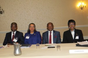 (left to right) -  , Jarvis Matiya, Head of Justice Section, Legal and Constitutional Affairs Division, Commonwealth Secretariat in London; Chief Justice Dame Janice Pereira; Prime Minister, the Right Hon. Dr. Denzil L. Douglas and Justice of Appeal and Chairperson of the Judicial Education Institute, the Hon. Louise Blenman.