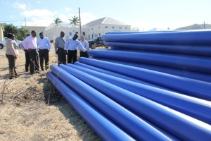 Members of the Nevis Island Administration Cabinet taking a first-hand look on April 16, 2014, at materials for use in the Caribbean Development Bank funded Water Enhancement Project on Nevis