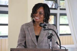 Vanessa Webbe Tourism Education Officer in the Ministry of Tourism delivering remarks at the launch of the Bank of Nevis sponsored Tourism Youth Congress for 2014 on April 24, 2014