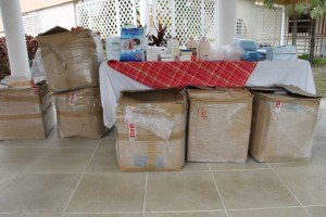 Six boxes containing medical supplies donated to The Flamboyant Nursing Home on Nevis and the Nevis Alexandra Hospital from a Nevisian residing in England through the Simple Missions in Love on May 13, 2014 at the Flamboyant Nursing Home