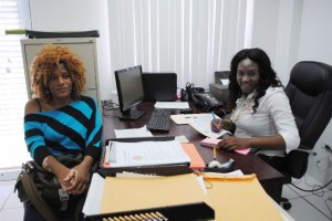 A woman of her word: Ms Altagracia at the PEP office in Dorset with WISE Officer, Ms Kadijah Harris.