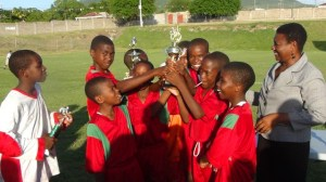 St. James' Primary with trophy--PEO Palsy Wilkin also present