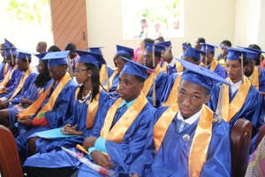 Some of the 94 graduands of the 41st Annual Graduation Ceremony of the Gingerland Secondary School at the Gingerland Methodist Church on November 27, 2014