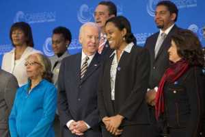 Ambassador Jacinth Henry-Martin (left back) and other Caribbean leaders including Jamaica's Prime Minister the Hon. Portia Simpson and St. Lucia's Prime Minister the Hon. Kenny Anthony take photo with US Vice President Joe Biden.