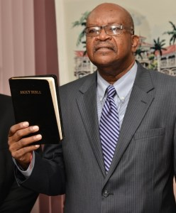 Acting Governor General Seaton taking the oath