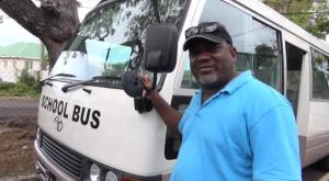 Driver of the newest bus in the Department of Education's free School Bus Programme Franklyn Fyfield