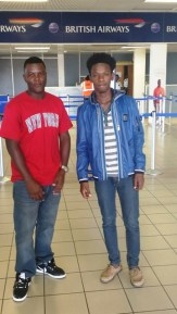 The two Jife Music artists: Nyquan (left) and Dominic Brookes at the RLB International Airport before their departure to St. Maarten