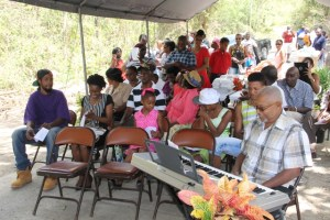 """Friends and family members of Albertine """"Dovie"""" Elliott at her birthday celebration on July 10, 2015, at Valley, New River"""