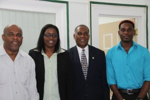 (L-R) Leader of Government in St. Eustatius Mr. Clyde Van Putten, Commissioner of Finance and Acting Governor of the Public Entity of St. Eustatius Hon. Astrid Mckenzie Tatem, Premier of Nevis Hon. Vance Amory and Unit Director of Agriculture, Animal Husbandry and Fishery Anthony Reid during a courtesy call at the Premier's office at Bath Hotel on July 22, 2015