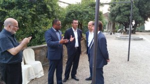 Minister of Foreign Affairs in St. Kitts and Nevis Hon. Mark Brantley (second from left) meeting with Florentine businessmen