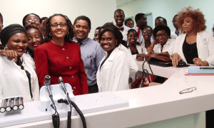 Minister Phipps and PS Skerrit surrounded by Windsor University students --