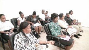 Immigration Officers on Nevis at a workshop with Senior Immigration Officer on Nevis Sergeant Paulette Bartlette (front row, extreme left) at the Cotton Ground Police Station on October 21, 2015