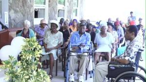 Seniors at the Flamboyant Nursing Home at a recent Thanksgiving service there
