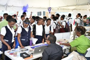 Students of CFBC visits a booth to obtain information