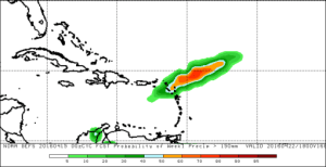 GFS probability forecast of total rainfall for April 15-22 exceeding 150 mm (6 in)
