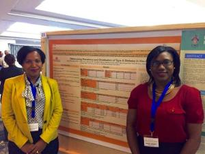 (l-r) Permanent Secretary in the Ministry of Health Nicole Slack-Liburd and Health Promotions Officer Shinell Nisbett at the Caribbean Public Health Agency's (CARPHA) 61st Annual Health Research Conference in the Turks and Caicos Islands