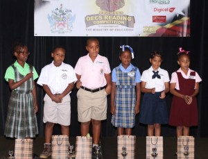 left to right) Toni Allen, Aleks Condell, D'Jaaden Dunrod, T'Shari Douglas, Devshi Saxena and Ayana Meade participated in the reading competition