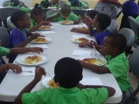 Children at JLPS enjoy first meal