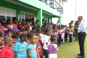 Premier of Nevis and Minister of Education Hon. Vance Amory addressing students at the Joycelyn Liburd Primary School during assembly on the school grounds on September 30, 2016