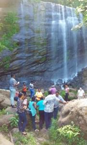 Community group on site visit to Mt. Carmel Waterfall, Grenada