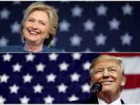 US presidential nominees Hillary Clinton (top) and Donald Trump speak at campaign rallies in Cedar Rapids, Iowa, US on 28 October 2016 and Delaware, Ohio on 20 October 2016 (file photos)Brian Snyder/Jonathan Ernst/Reuters