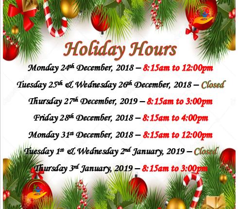 Holiday Hours for Christmas Season