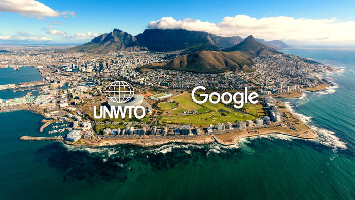 UNWTO and Google logos on an unnamed destination
