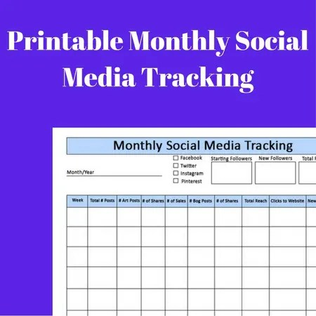 Monthly Social Media Printable Tracker