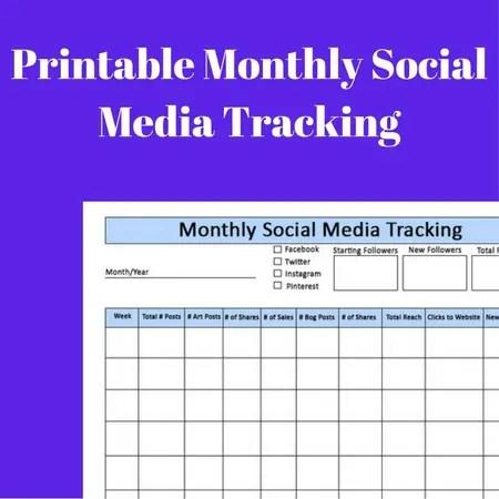 Monthly Social Media Printable Tracker