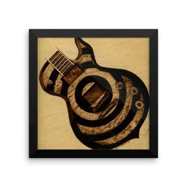 Rocking Tonight Guitar Woodburning Framed Print