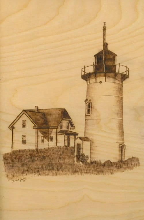 Race Point Lighthouse Woodburning Framed Print