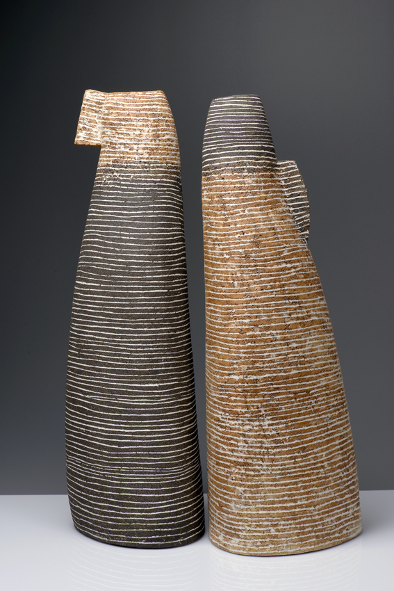 Pair, 2016, handbuilt from stoneware clays, porcelain inlays