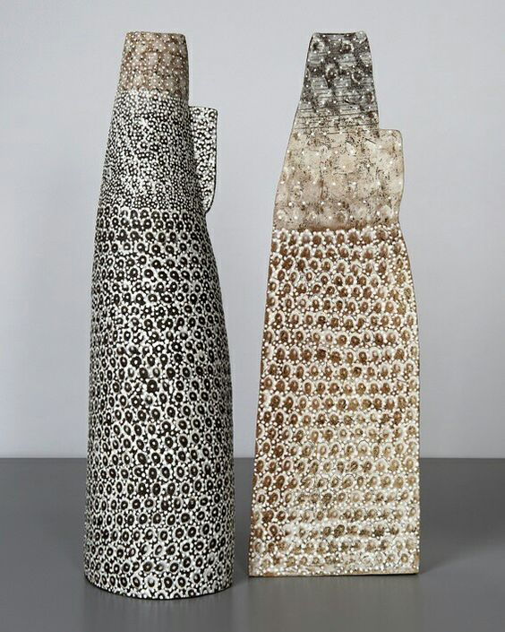 pair of vessels, 2016, handbuilt from stoneware clays, porcelain inlays