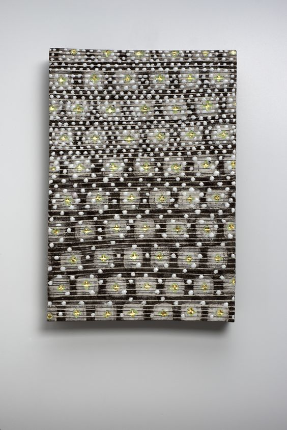 wallpiece, black clay, porcelain, glaze and gold