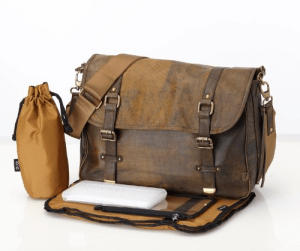 OiOi Changing Bag - The Messenger - Jungle Leather Satchel