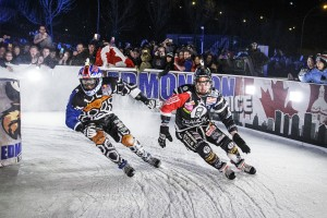 Cameron Naasz of the United States, Dean Moriarity of Canada Tommy Mertz of the United States and Scott Croxall of Canada compete during the fourth stage of Red Bull Crashed Ice, the Ice Cross Downhill World Championship in Edmonton, Canada on March 14, 2015.