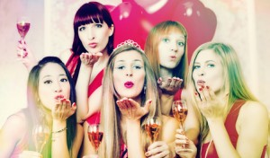 Women having bachelorette party in night club