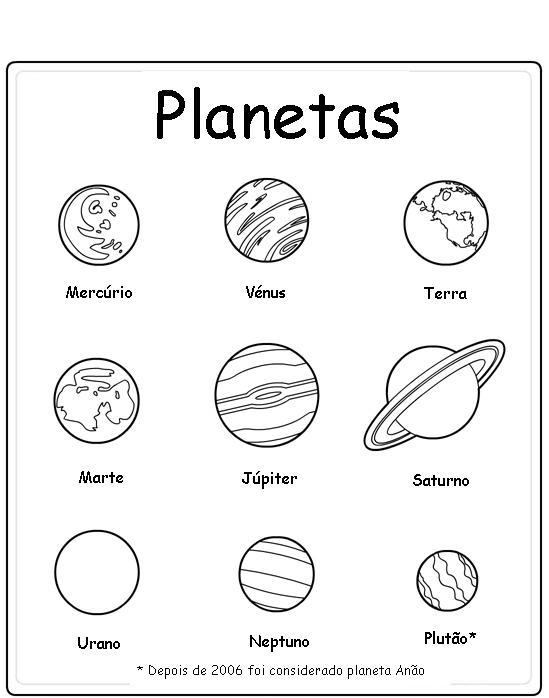 Imagens do globo e planetas para imprimir e colorir