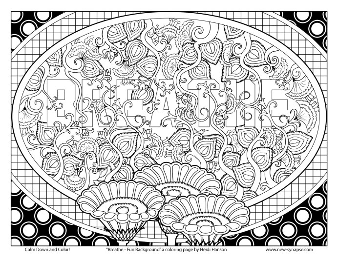 "Free Coloring Page ""Breathe - Fun Background"""