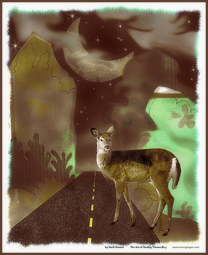 A deer steps into the road at night.