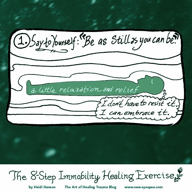 "drawing of a person lying down with the words ""Be as still as you can be."""