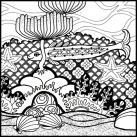 Fish Coloring Page detail of a small fish with starfish, seaweed, stones and sand