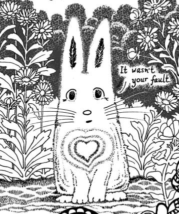A Message for Trauma Survivors from Forest Creatures Coloring Page rabbit detail