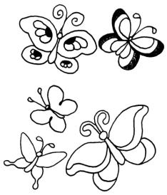 Push Against a Wall Grounding Activity Coloring Page detail of butterflies