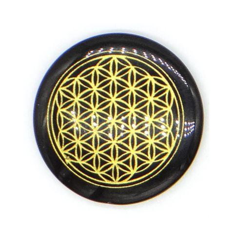 超光速粒子生命之花碟形水晶 3 cm - 黑曜石(矿石脉轮珠) 1