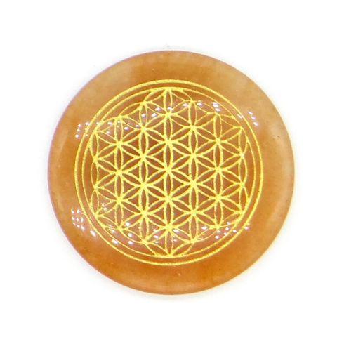 超光速粒子生命之花碟形水晶 3 cm - 橘东菱玉(矿石脉轮珠) 1