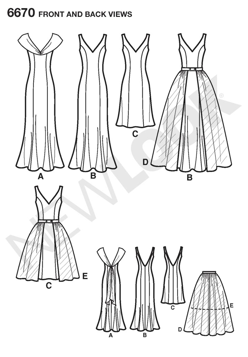 6670 New Look Pattern Misses Special Occasion Dresses with
