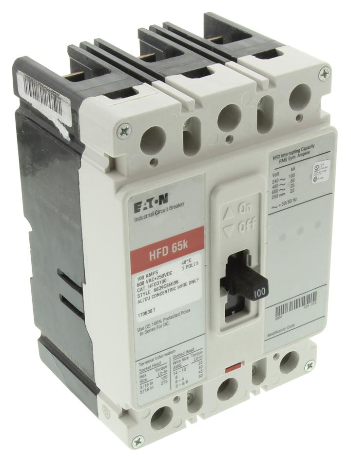 medium resolution of hfd3100 eaton cutler hammer thermal magnetic circuit breaker hfd series 100 a