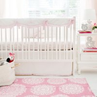 White and Pink Flamingo Crib Bedding | Flamingo Baby ...