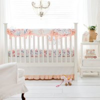 Floral Crib Bedding | Peach Baby Bedding | Floral Baby ...